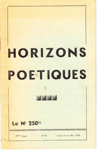 Horizon Poétique mars 1959